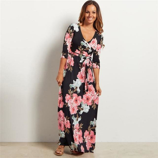 Buy Cheap Women Summer Floral Print Maxi Dress Boho Style Long Beach Dress Online - SunLify