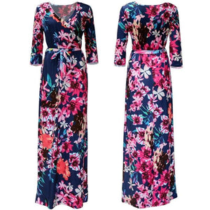 Women Summer Floral Print Maxi Dress Boho Style Long Beach Dress - SunLify