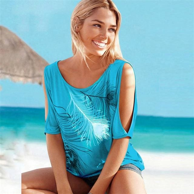 Buy Cheap Women Summer Short Sleeve Tops Tees Off Shoulder T-Shirt O-neck Online - SunLify