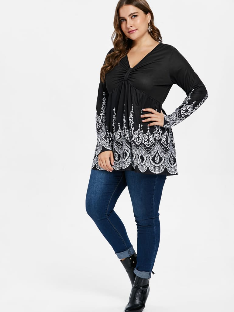 Women Blouse Casual Shirts V Neck Long Sleeves High Waist Plus Size