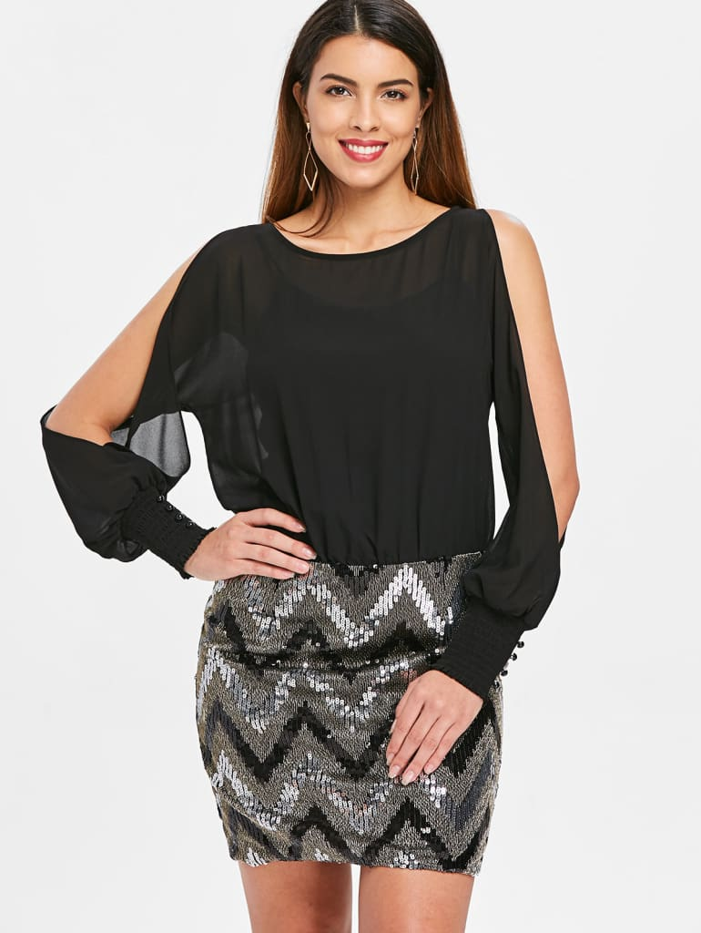 Women Dress Sequined Chiffon V-Neck Knee-Length Bodycon