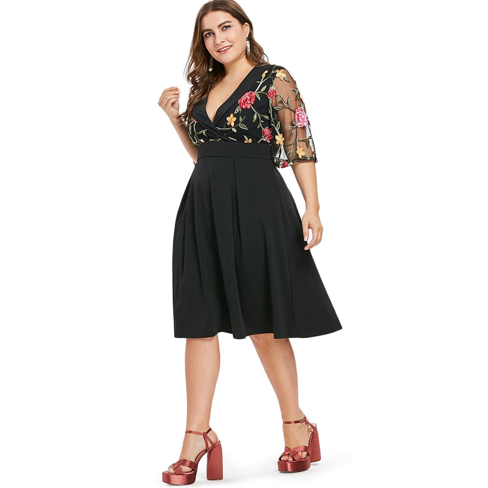 Women Dress V Neck High Waist See Through Sleeves Vintage Plus Size