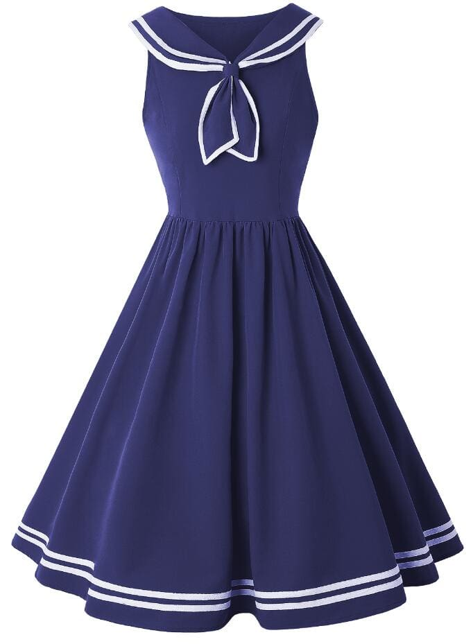 Sailor Collar Sleeveless Women Dress