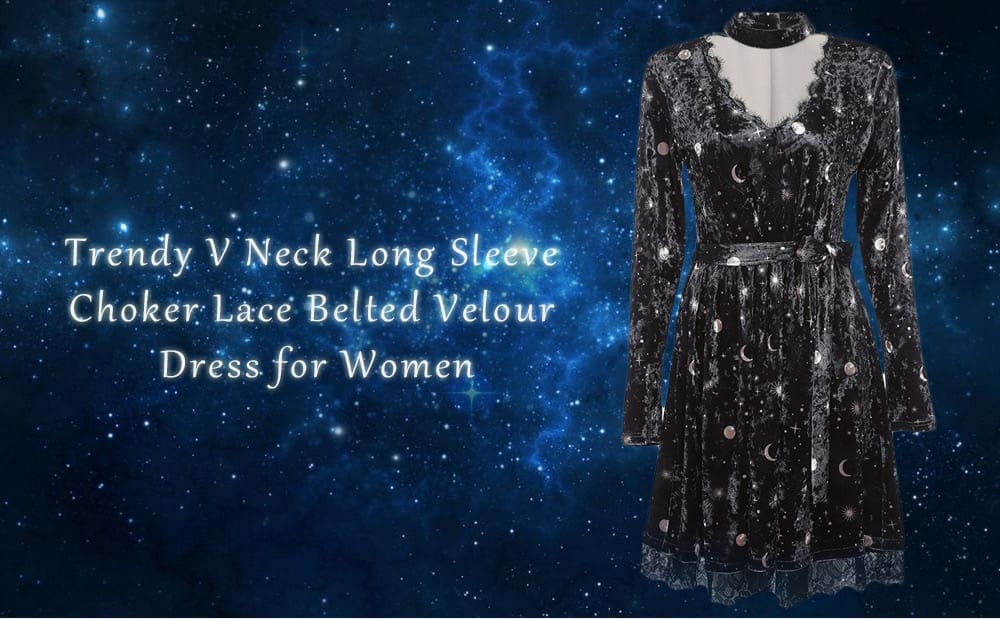 Women Velour Dress V Neck Long Sleeve Choker Spliced Lace Belted