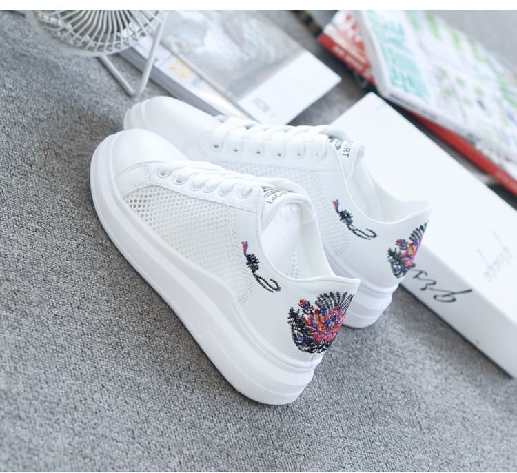 Women Embroidered Breathable Hollow Lace-Up Casual Shoes 4 Styles