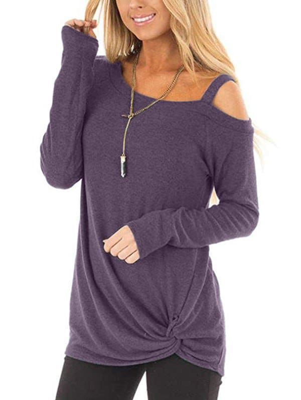 Plus Size Long Sleeve Tshirts One Shoulder T-Shirt