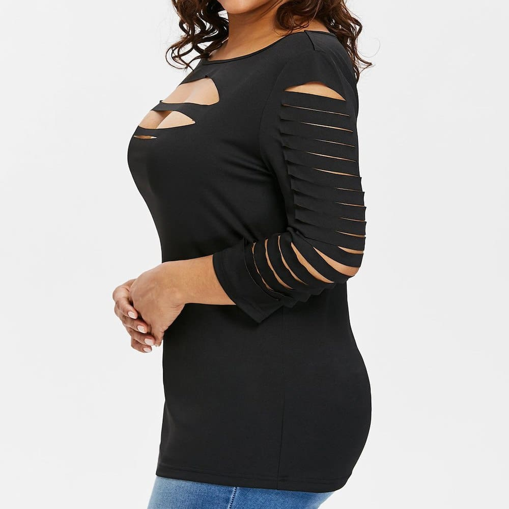 Plus Size Ladder Ripped Cut Front T-Shirt