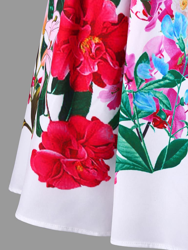 Oil Painting Floral Print Vintage Dress Double Straps Plus Size