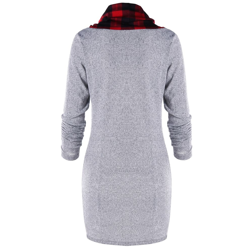 Womens Casual Sheath Cowl Neck Long Sleeve Dress
