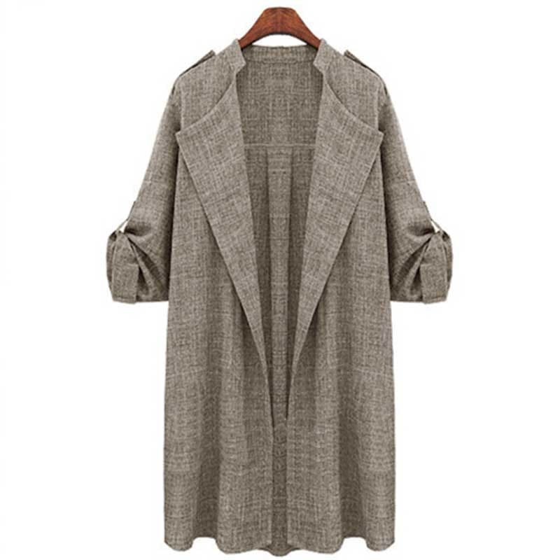 Women Jacket Ladies Long Overcoat Waterfall Cardigan Plus Size