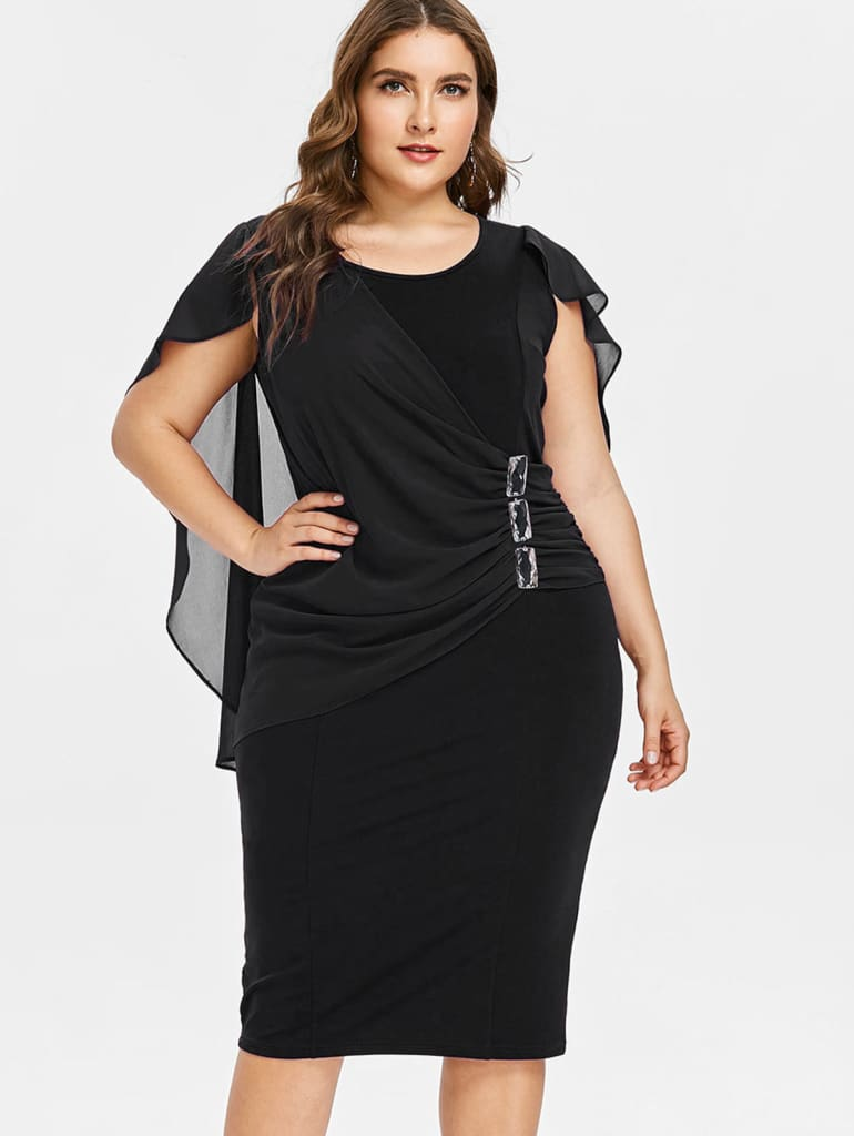 Rhinestone Ruched Embellished Capelet Dress O-Neck Sleeveless Plus Size