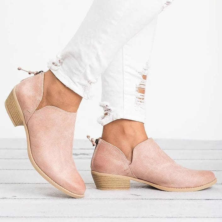 Womens Boots Shoes High-Heel Low Solid Zipper Plus Size