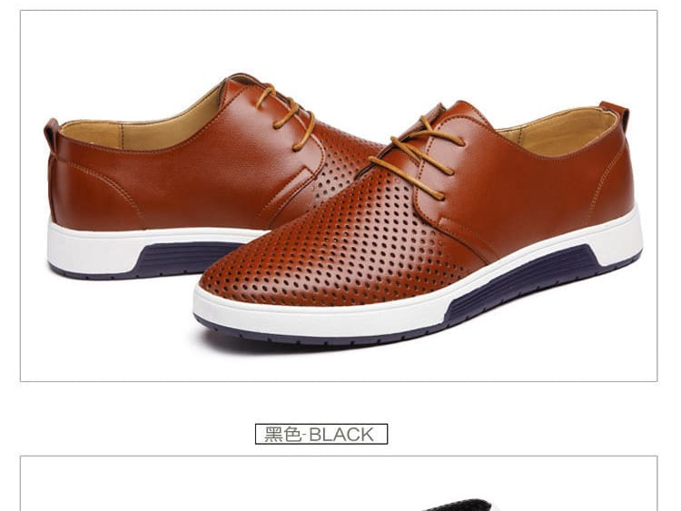 Men Casual Shoes Leather Summer Breathable Holes Flat Shoes 6 Styles