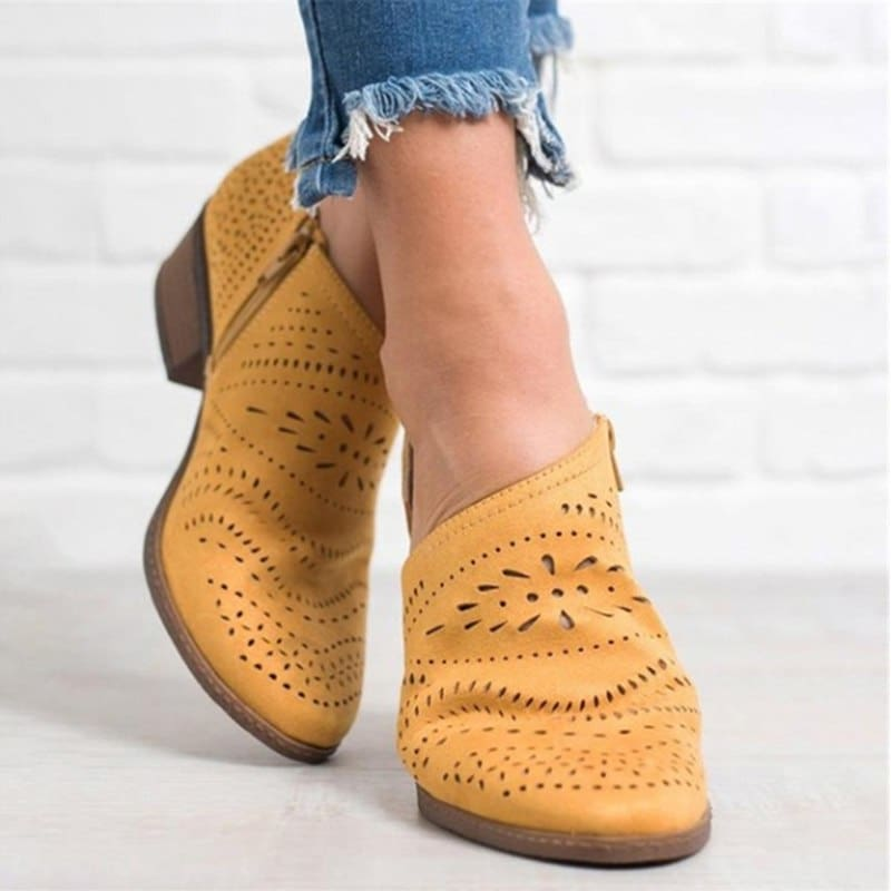 Leisure Hollow Low-Heeled Shoes Women Sandals