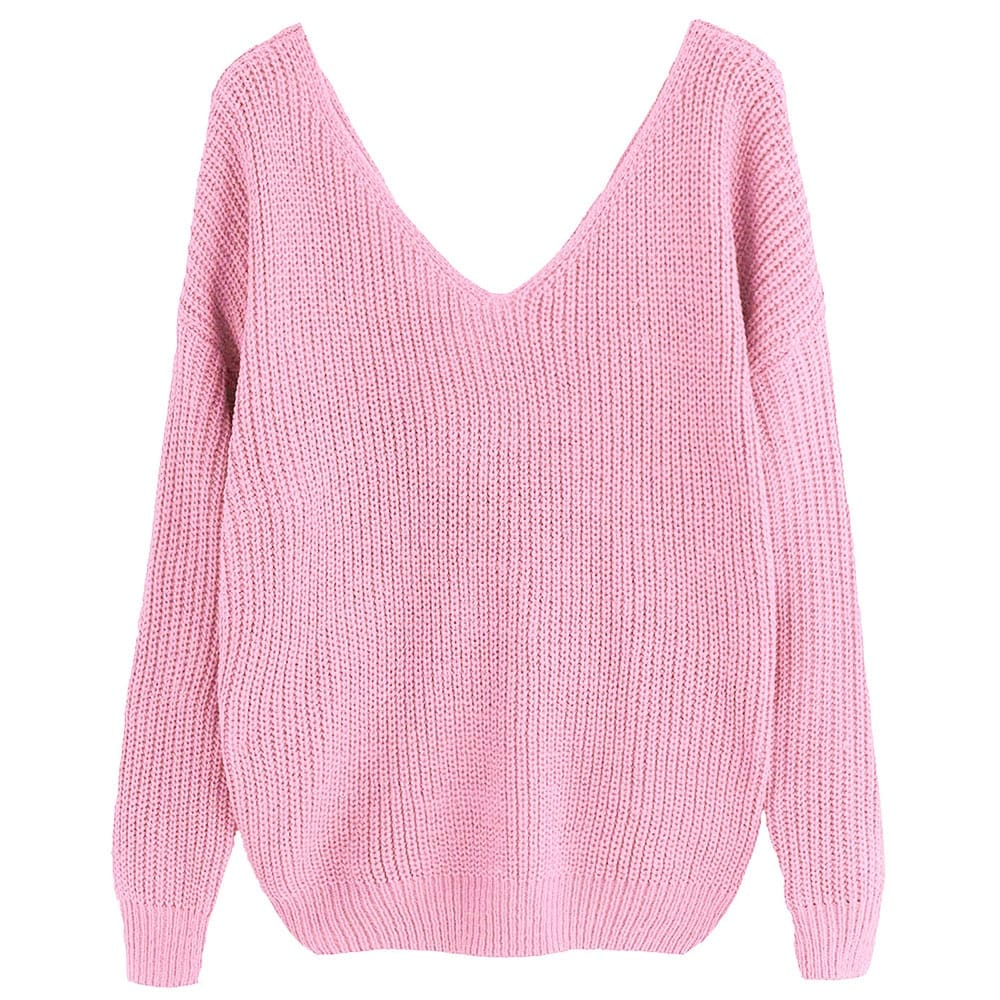 Pearl Beading Twist Infinity Sweater Sweet Long Sleeves V Neck