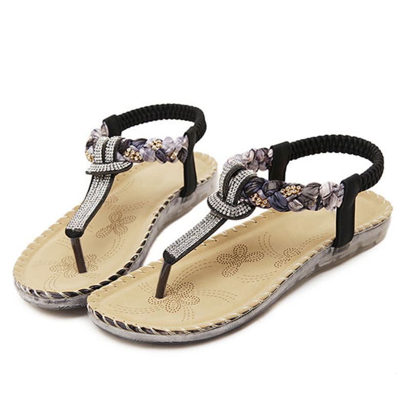 Women Sandals Flat Heels Sandals Crystal Flip Flops Large Size