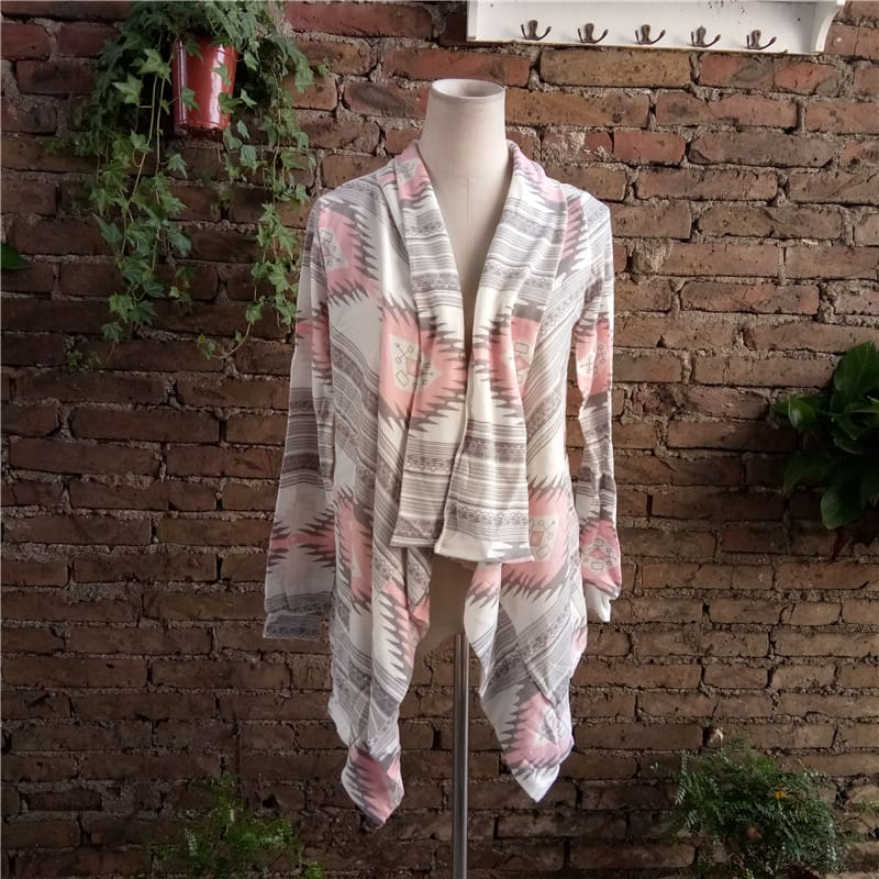 Fashion Knitted Cardigan Long Sleeve Poncho Sweaters Print Irregular