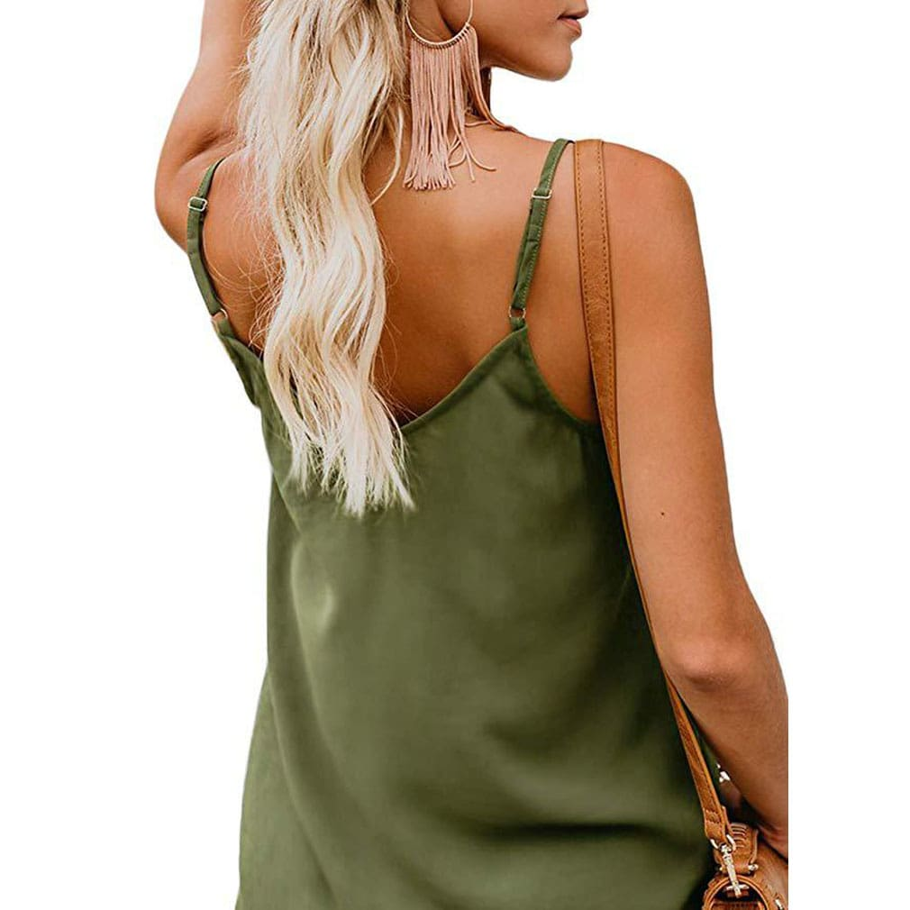 Women Sexy Button V Neck Sleeveless Cami Tank Top