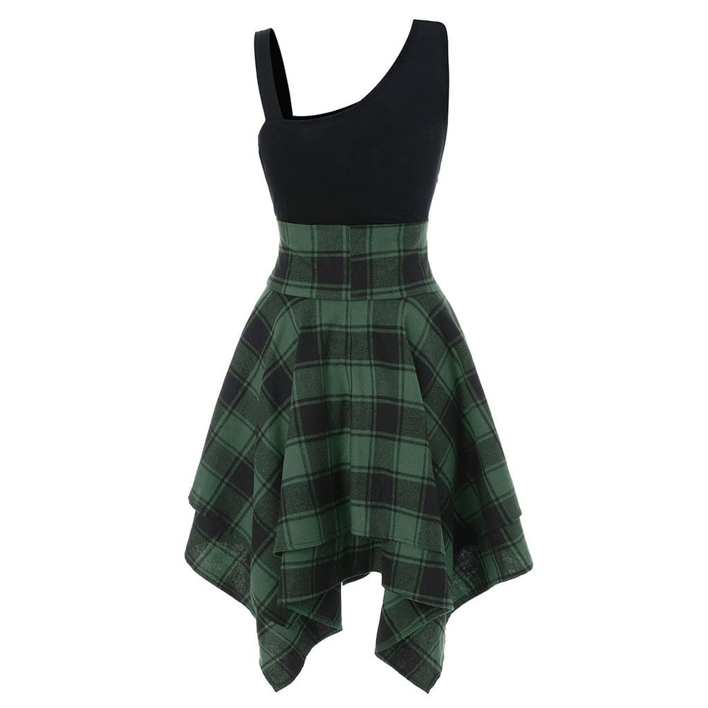 Women Sleeveless Cold Shoulder Cross Lace Up Plaid Asymmetrical Dress
