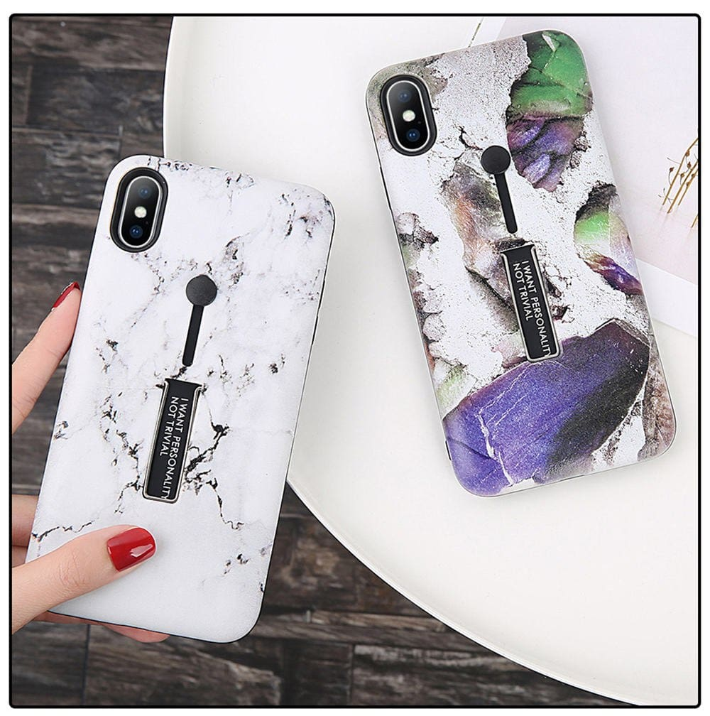 Marble Hide Ring Silicone Phone Case For iPhone Xs Max