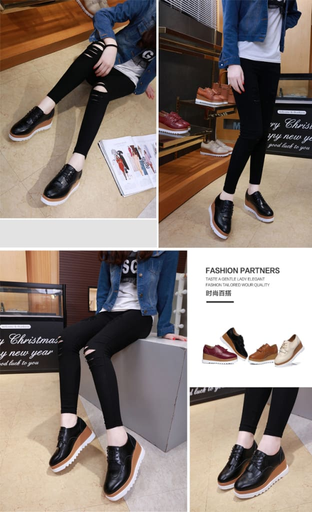 Women Shoes Sneakers Platform Shoes Lace-Up Round Toe