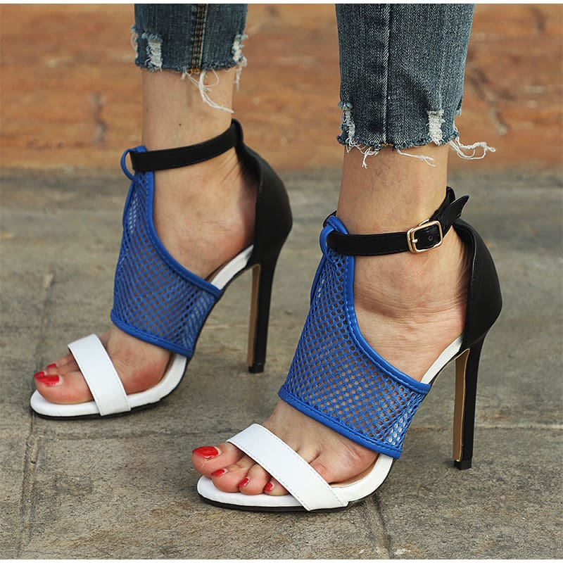 Women Sandals Ankle Strap Buckle Thin High Heels Mesh Casual Shoes