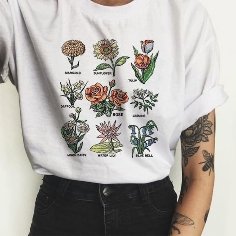 Wild flower Graphic Tees Women Shirts Short Sleeve T-shirt O-neck Tops