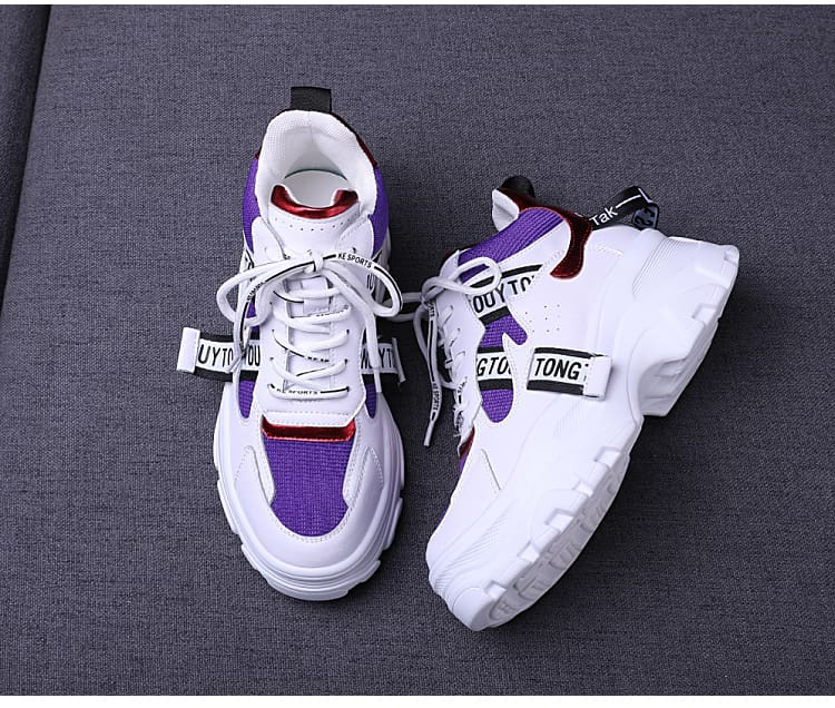 Womens Shoes Leather Mesh Chunky Sneakers Flat Lace-up Thick Sole