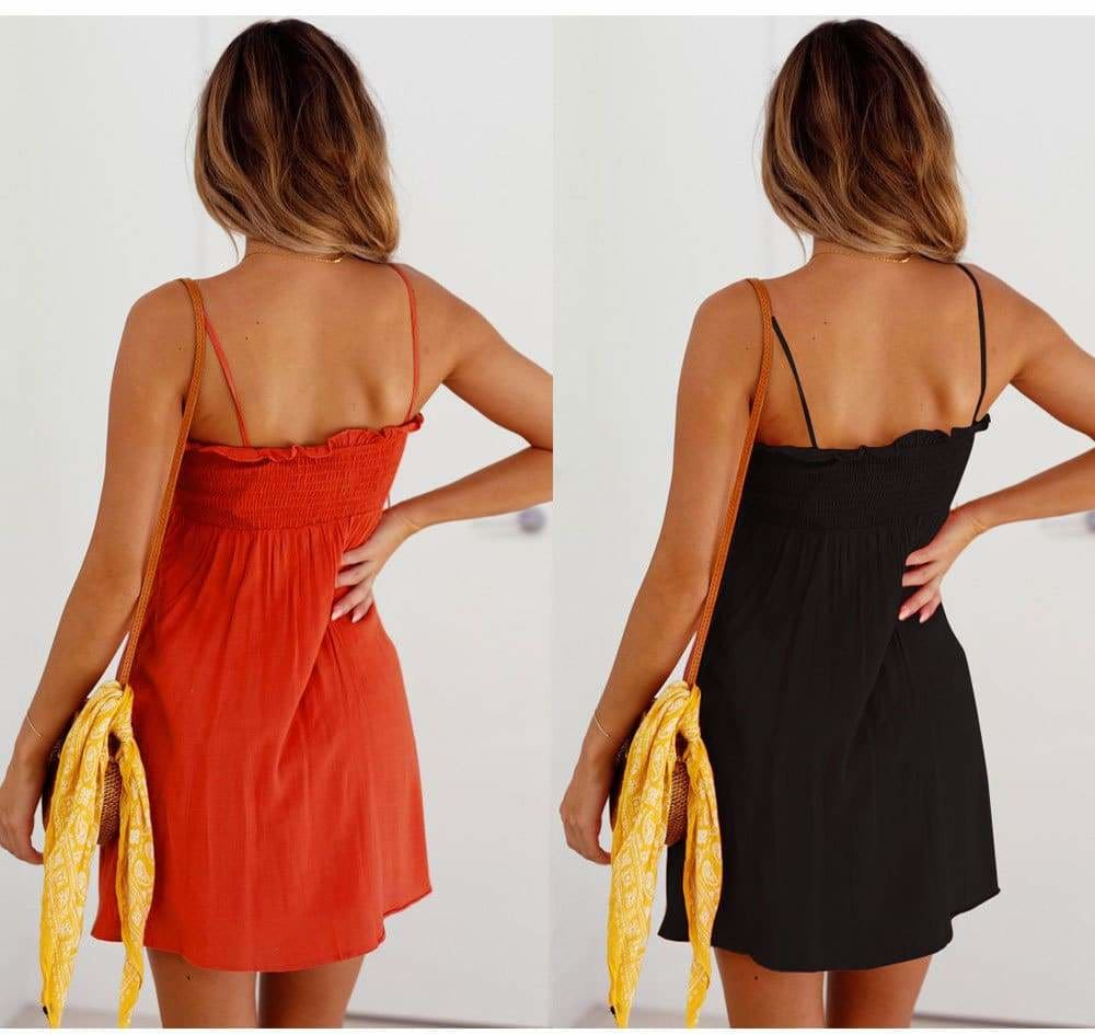 Front-breasted White Elastic Waist Sling Strap Dress