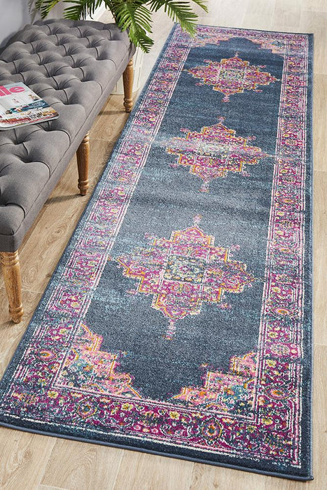 Babylon 211 Navy  Runner Rug