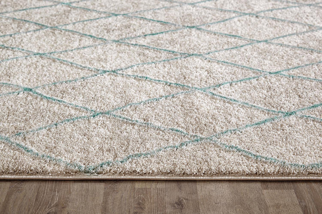 Capri Zuri Morrocan Diamand Rug Natural Soft Blue