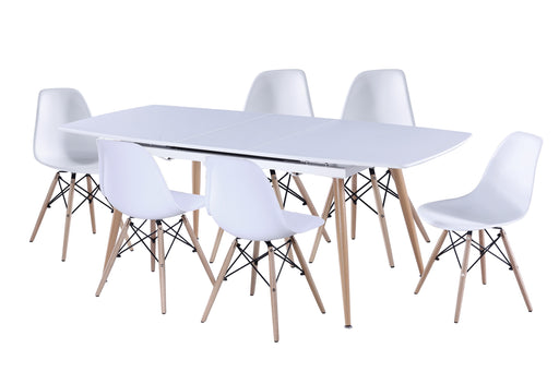 Helsinki Extension Table with 6 Eames Chairs