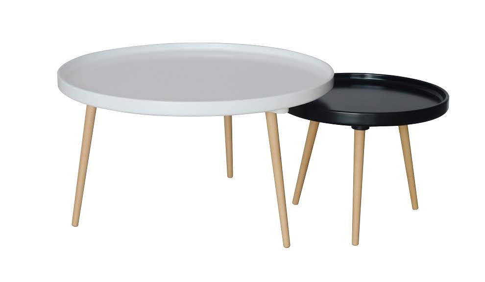 Round Coffee Table S/2 White/Black KYLE
