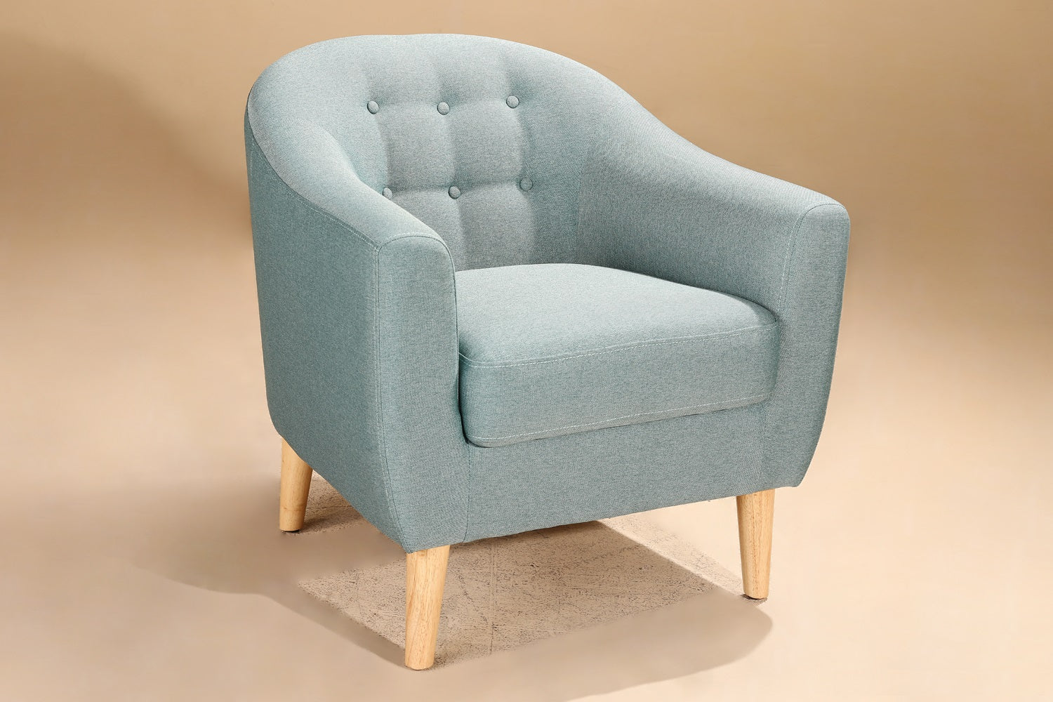 Owen Arm Chair In Linen Blue Fabric