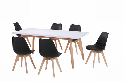 Stockholm 1.8m Dining table With 6 Helsinki Chairs in Black