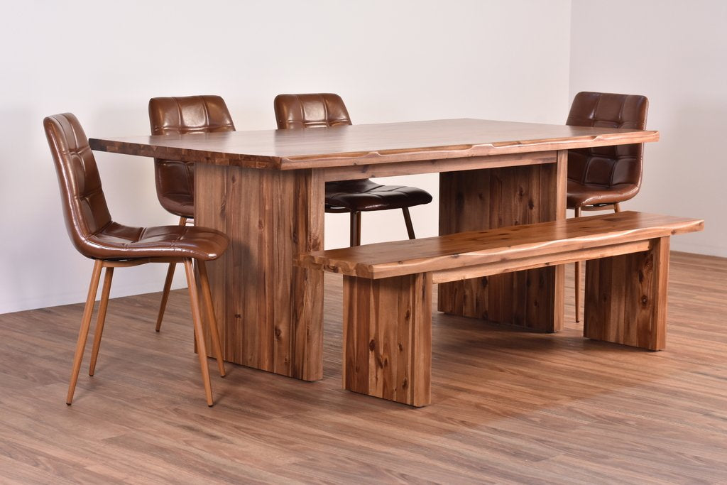 Bennet Live Edge Dining Suite With 4 Bennet Chairs And A Bennet Bench