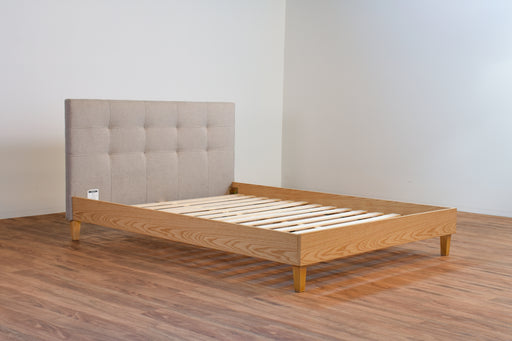 Ivy Double Bed in Beige Fabric FB-05 with straight Slats and timber Look frame