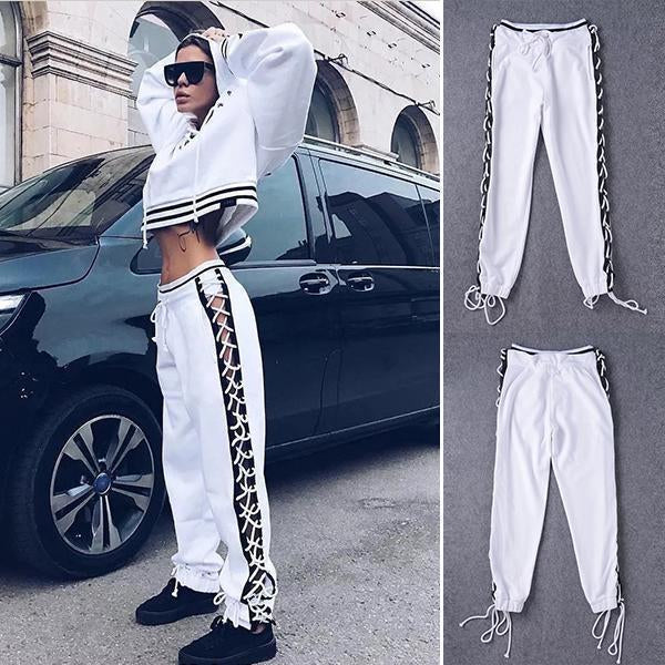 Cross Side Straps Closing Pants Sweatpants