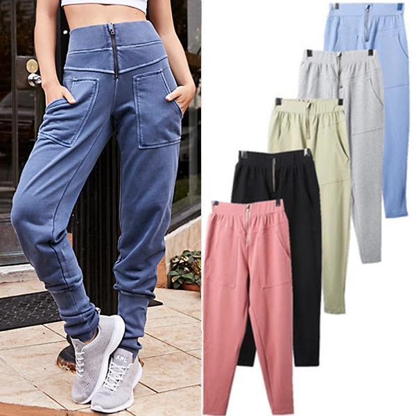 Zipper Pockets High Waisted Casual Long Pants