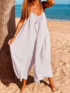 wiccous.com Plus Size Bottoms White / L Strap cotton linen jumpsuit