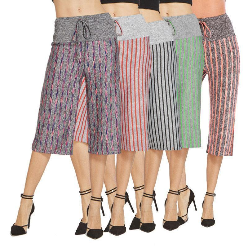 Daily Casual Loose Stripe Printed Middle Pants