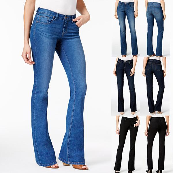 4 Colors Medium to Low Rise Stretchy Bootcut Jeans