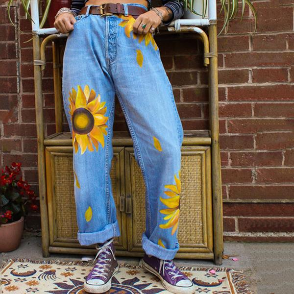 Women Sunflower Print Mid-waist Casual Jeans