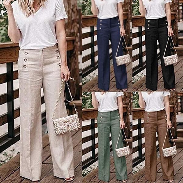 Cotton Linen Solid Color Casual Button Wide Leg Pants