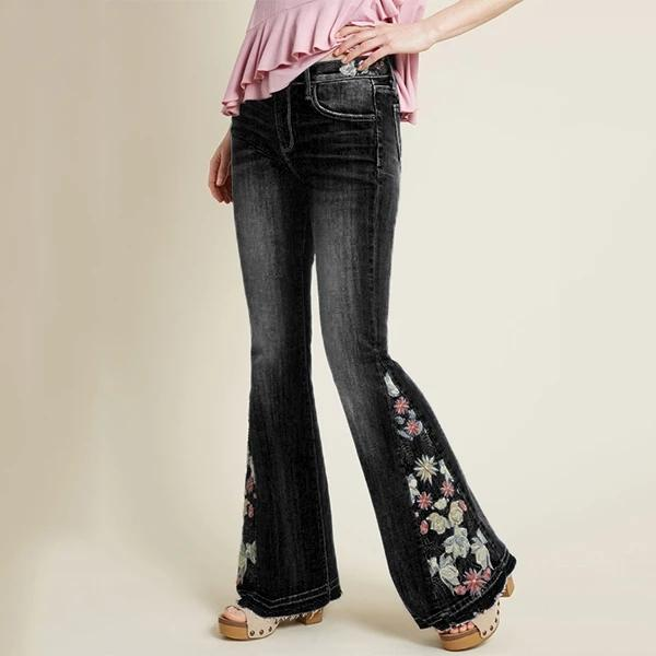 Floral Embroidery Bell Bottom Jeans
