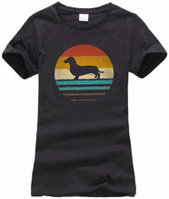 "Load image into Gallery viewer, ""Retro Doxie Silhouette"" Graphic Tee"