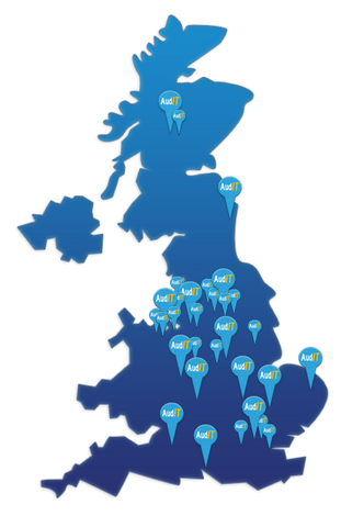 Map of the UK with customer locations as pins