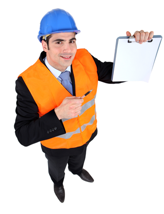 Construction worker with clipboard for inspections