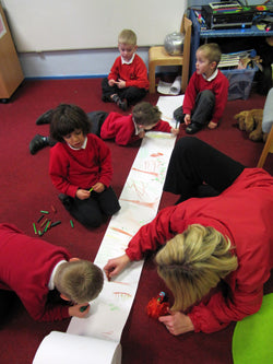 Pupils at St Saviour's Primary, Talke, learn using donated paper rolls from SG World