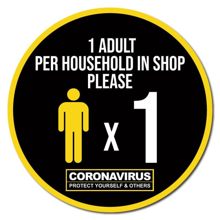 1 Adult Per Household, Indoor Circle Floor Signage, 300mm Diameter (Pack of 5)